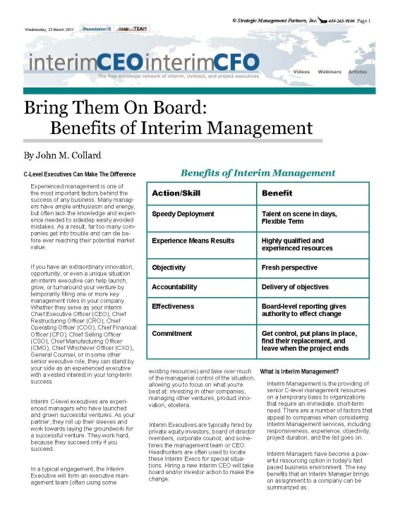 Benefits of Interim Managers by John Collard