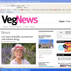 Veg News Published a Colleen Holland Article-Interview of Patricia Bragg on May 23