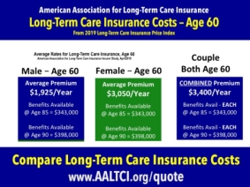 Long term care insurance costs found at http://www.aaltci.org/quote