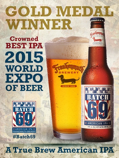 Batch 69 IPA WINS the Gold Medal in the IPA Category at 2015 World Expo of Beer