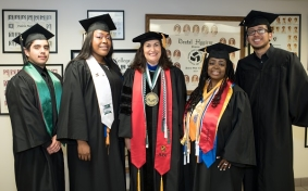 PSC President Winfree and award recipients at 59th Annual Commencement ceremony.