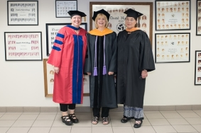 Associate Professor Dr. Megan Hughes, Vice President Dr. Marie Hansel  and Adjunct Professor Rebecca Wolfe
