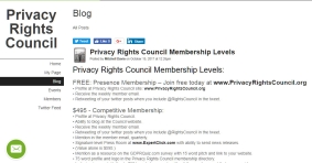 Free Privacy Rights Council Membership Levels: – Join free today/