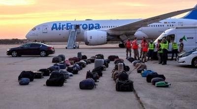Afghan refugees' luggage sits at the Torrejon de Ardoz air base in Madrid, Spain, Aug. 24, 2021. By Jesus Hellin/Europa Press...