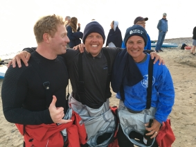 Joe Lorenz, Jeff Guy and Kwin Morris  after their 60 mile Standup Paddleboard across Lake Superior in July