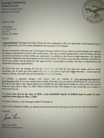 Law School Acceptance Letter