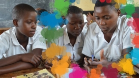 Brainstorming at an all-girls school in Africa