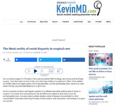 Theories of Sanjay Prasad, MD, FACS on 'Bleak Reality of Racial Disparity in Surgical Care' Showcased on KevinMD.com