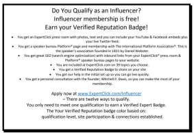 Do You Qualify as an Influencer? Influencer membership is free! Earn your Verified Reputation Badge!