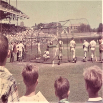 The Chicago Cubs take batting practice in 1969, the year before player Curt Flood challenged MLB