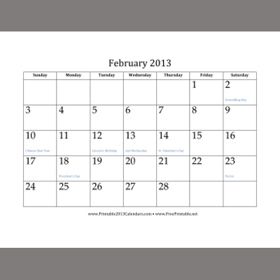 Free Printable 2013 Monthly Calendars