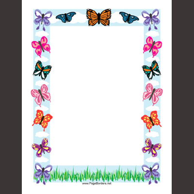 Free Printable Flyers with Butterfly Border