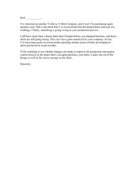 Sample Complaint Letters