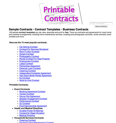 photograph regarding Free Printable Contracts named Totally free Printable Contracts