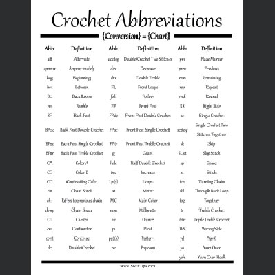 Crochet Abbreviations : Crochet Abbreviations