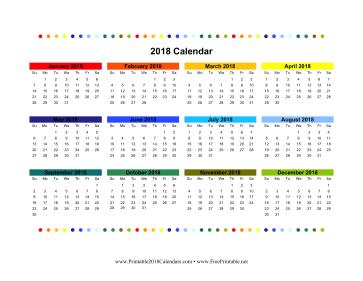 2018 calandar