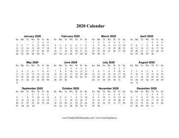 2020 Yearly Calendars