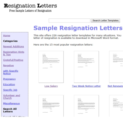 Sample Resignation Wording