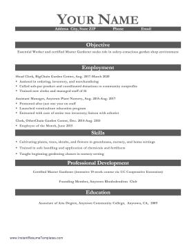 Essential Worker Resume Sample