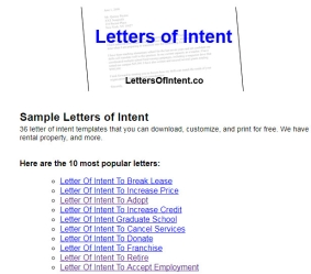 Sample Letters of Intent