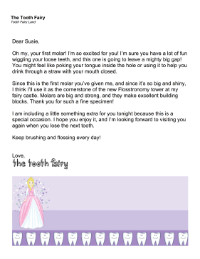 Sample Tooth Fairy Letter