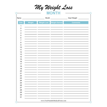 Printable Medical Forms, Charts And Logs