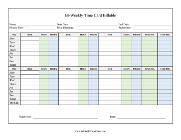 Billable Hours Time Cards