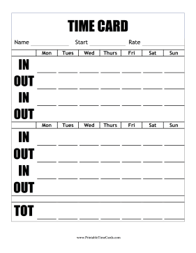 Large Print Time Cards