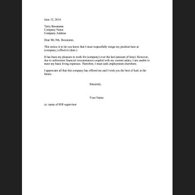 Printable Resignation Letters
