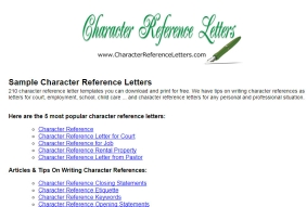 samples of character reference letter