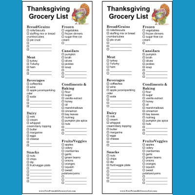 Printable Thanksgiving And Christmas Grocery Lists