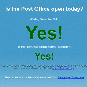 Is the Post Office Open Today?