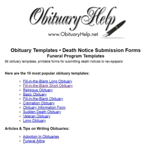 Obituaries and Death Planner Forms