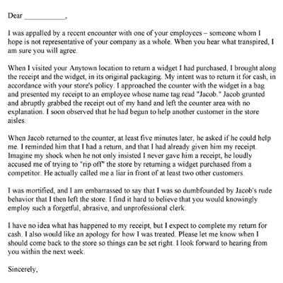 Free Printable Complaint Letters – Product Complaint Letter Sample