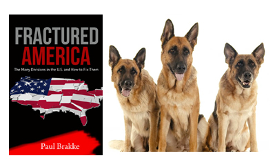 Three Purebred Dogs Showing Support for Fractured America