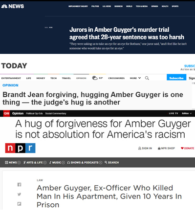 Headlines about the Amber Guyger case