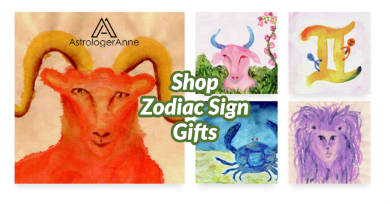 Live the essence of your zodiac sign with colorful lifestyle gifts and apparel from Astrologer Anne's new online art shop.