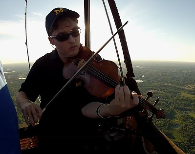 Stuart Carlson Perform on a Violin in a Hot Air Balloon in Michigan