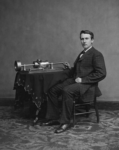 Thomas Edison and His Phonograph (1877)