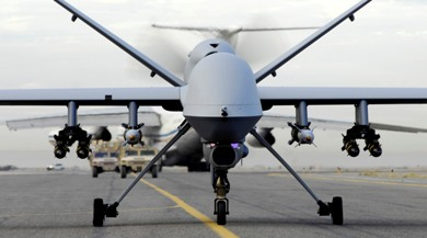 MQ-9 Reaper Taxis Down the Runway