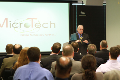 Congressman Gerry Connolly (D-VA) speaks before MicroTech employees at March 13 2012 Town Hall forum in Vienna, Va.