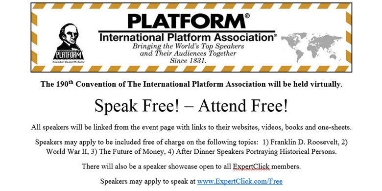 Call for Speakers ---  The 190th International Platform Convention, August 14, 2021.