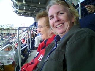 Me and my mom cheering for her favorite team the Washington Nationals