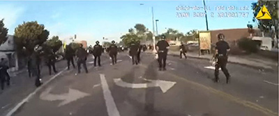 LAPD during May 30, 2020 peaceful protests in Los Angeles