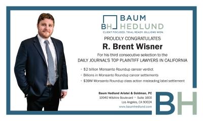 R. Brent Wisner, Trial Attorney and Senior Shareholder of Baum Hedlund Aristei & Goldman