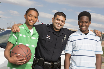 Police Officer with Local Teens
