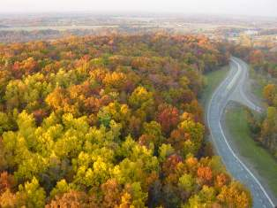 Fall Color Over GM Proving Grounds Milford, MIchigan From Westwind Balloon Co
