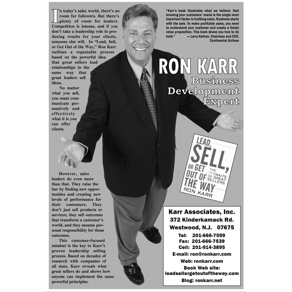 Ron Karr -- CSP  -- Sales Leadership Expert